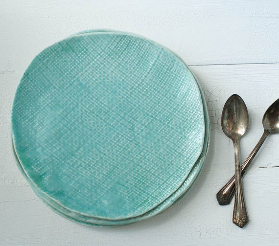 Two Textured Aqua Porcelain Dessert Plates