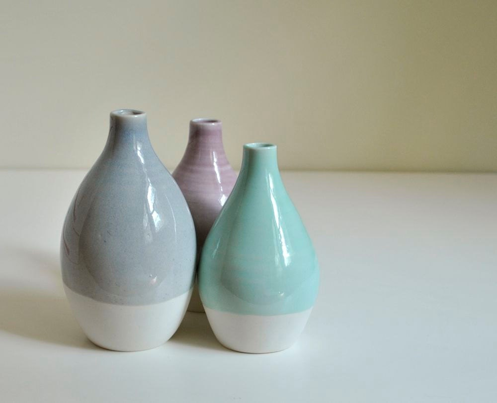 Modern pottery vase porcelain bottles purple aqua blue and for Decorating with blue and white pottery
