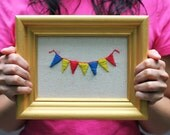 DIY Kit - Tiny Banner - Crewel Embroidery - Custom Colors Available!