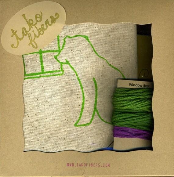 Green Window Bear - Crewel Embroidery Kit - DIY