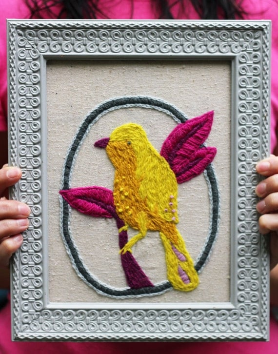 Embroidery Kit - Citrus Bird - Crewel Embroidery - LAST ONE