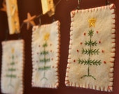 Felt Christmas Tree Stitchery Ornaments Primitive Set of Three