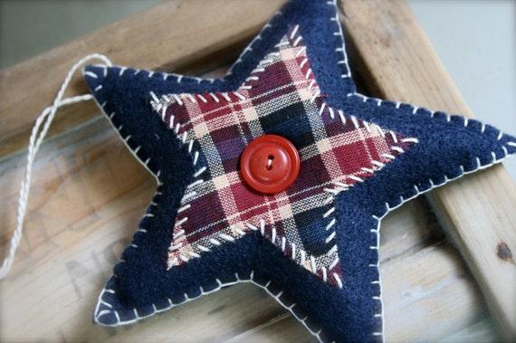 Americana Felt Star Primitive Decoration Ornament Navy