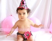 Party Hat AND Diaper Cover in ZEBRA for Cake Smash or First Birthday - Baby - Girl
