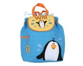 Penguin Quilted Back Pack or Diaper Bag in Blue Yellow and Orange - Includes FREE Personalization - Same Day Shipping