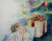 Christmas Dreams Print of Original Painting 8x10 Little Girl with Doll Sleeping Under Vntage Tree
