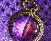 Evil Eye Necklace  Purple Gothic Steampunk Necklace, Ward Off Evil Spirits, Underworld Eyeball, Cyclops, Halloween