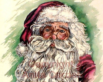 Santa Claus Original Painting, Large  Watercolor 15 x 16  Colorful, Red, Green, Bright Christmas Colors