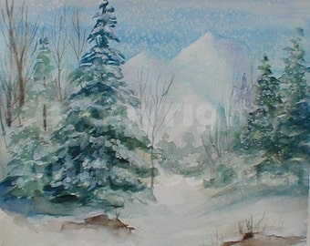 Wintertime, Original Painting of Snowy Winter Scene on Heavy Watercolor Paper 9 x 12  Soft Cool Colors
