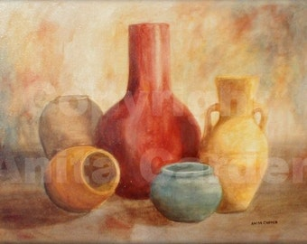 Pottery, Print of Original Painting , 8x10 Still Life, Colorful, Red, Yellow, Bright Warm Earthtone Colors