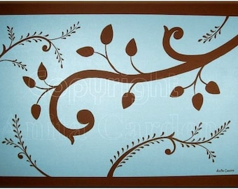 Vines and Leaves, Chocolate Brown, Soft Blue, Print of Original Painting, 8x10 Abstract , Trendy Home Decor Colors
