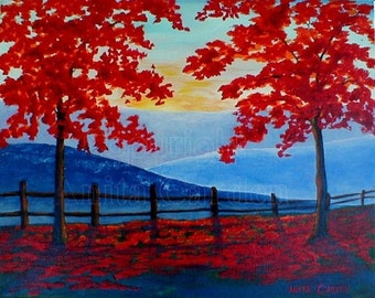 Autumn View, Original Painting on Canvas, Large16 x 20  Modern, Contemporary, Colorful, Red, Blue,  Bright Fall  Colors