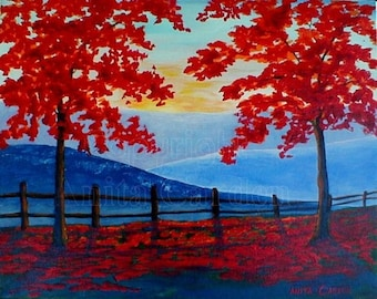 Autumn View, Print of Original Painting , 8x10 Modern, Contemporary, Colorful, Red, Blue, Bright Fall Colors
