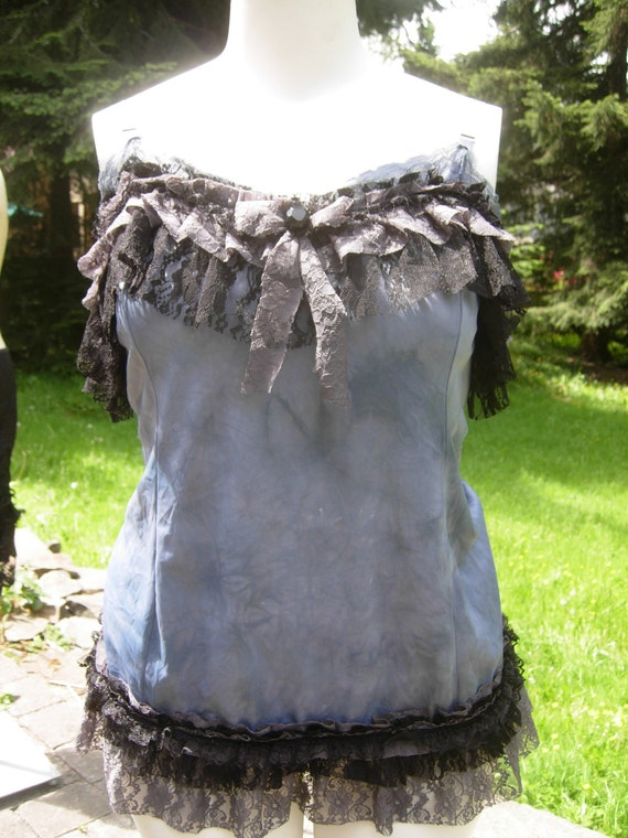 shades of grey hand dyed blue grey camisole tank with lace ruffles size XL