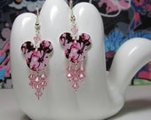 Mickey Mouse Pink and Brown Hawaiian Hibiscus Dangle Earrings