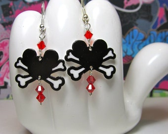 Mickey Mouse Crossbones Dangle Earrings