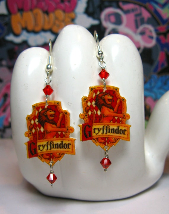 Harry Potter Gryffindor Crest Dangle Earrings