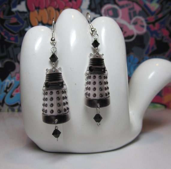 Doctor Who White Dalek Dangle Earrings