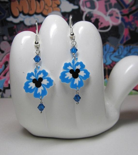 Mickey Mouse Blue Hawaiian Hibiscus Dangle Earrings