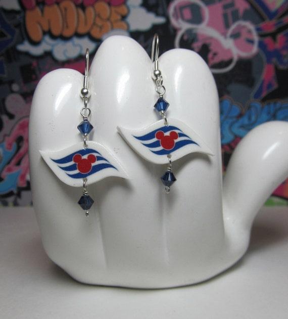 Disney Cruise Line Flag Blue Beads Dangle Earrings