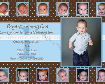 First Birthday Invitation Photo Invitation 1st Birthday Invite Picture Invitation Photo Collage Invite Custom Invitation Printable Invite