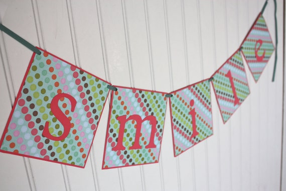clearance: smile Banner- Great for photo shoots or home decor
