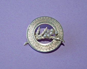 Edwardian silver and pearl ring brooch