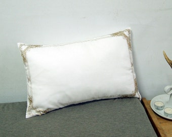 """Gold Lace Frame Pillow Cover-white and gold-12X18"""""""