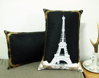 """Set of two-Eiffel Tower Photo Frame Pillow Cover-white and gold-12X18"""""""