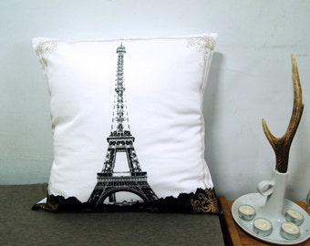 """Final Sale-Eiffel Tower With Lace Pillow Cover-black and gold-16""""(40cm)"""