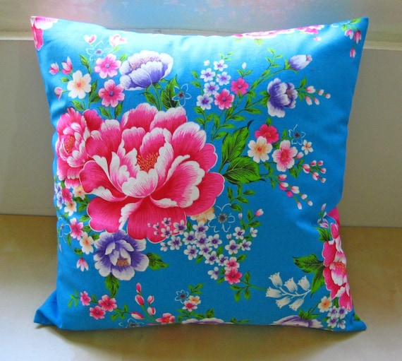 "SALE 30% OFF-60s pop tradition of textile pillow /16"" (40cm)- Turkey Blue flower pillow cover"