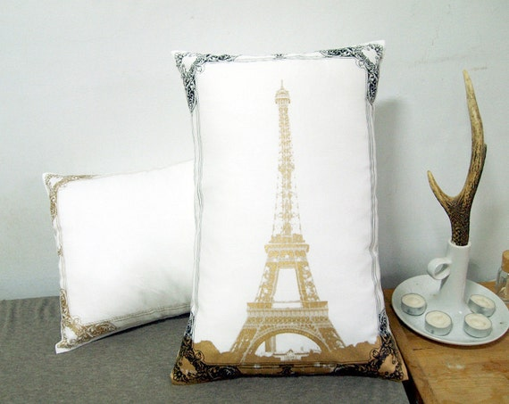 """Set of two- Eiffel Tower Photo Frame Pillow Cover-black and gold-12X18"""""""