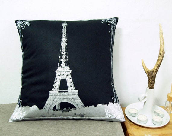 "Final Sale-Eiffel Tower With Lace Pillow Cover-white and silver-16""(40cm)"