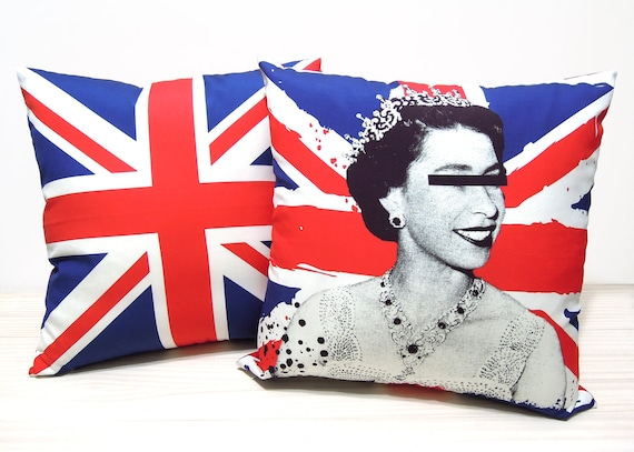 "set of two-God save the queen & union flag pillow cover-16"" (40cm)"