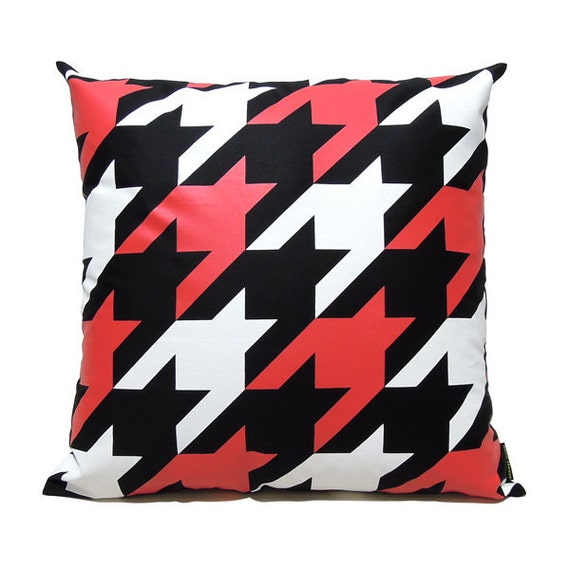 "SALE 20% OFF-Houndstooth Pillow Cover-White and red printed in black cotton-16""(40CM)"