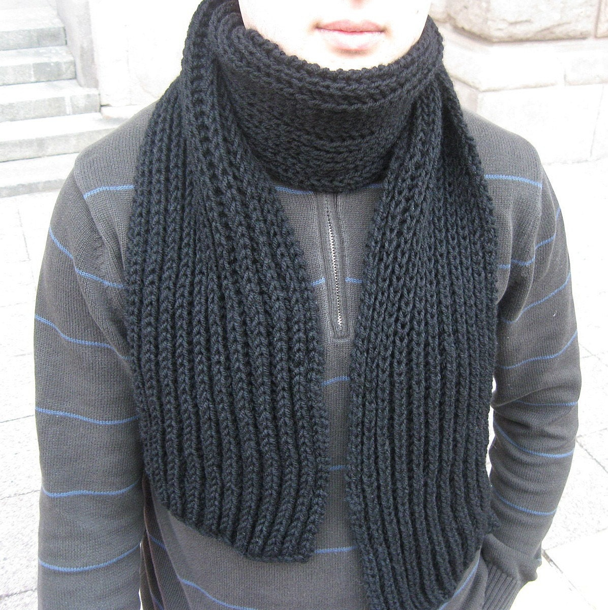 Black Hand Knit Wool Scarf for MEN by nevita on Etsy Hand Knitted Men's Scarves