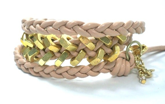 50% CLEARANCE SALE - Light Peach / Natural Chevron Braided Leather Triple Wrap Bracelet with Brass Hex Nuts ... by  B A L O O S