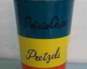 Vintage Mod Orange Blue and Yellow Nesting Snack Cannister