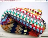 Vintage Crochet  Afghan Blanket  Colorful Stripes