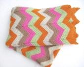 Vintage Chevron Crocheted Afghan Tangerine Orange and Pink Retro Blanket