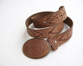 Vintage Brown Leather Belt Tooled Native American Indian Kachina size 36