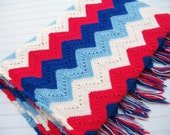 Vintage Patriotic Zig Zag Crochet Afghan Blanket Red White Blue