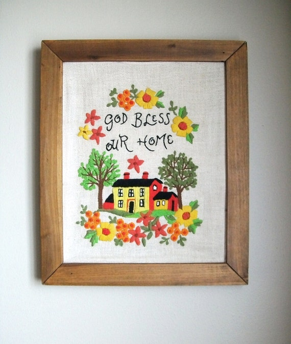 Vintage Framed Crewel Embroidery God Bless Our Home