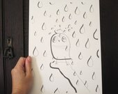 "Owl in the Rain Original Hand Drawn Illustration - 12x9"" (30.5x22.5cm) Ink Free"