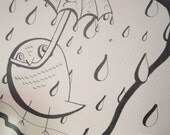 "Little Owl with Umbrella in the Rain Hand Drawn Pencil Illustration - 12x9"" (30.5x22.5cm) No Ink"