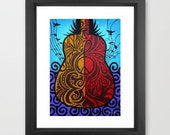 Peace Guitar, Art, Print, Framed, Music, Peace Sign, Treble Clef, Red, Yellow, Blue, Purple, Black, Under 50, FREE SHIPPING