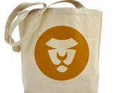 Gold Lion Tote, Graphic Lion, Circles, Mustard, Gold, Yellow, Animals, Children, Green, Eco, Shopping Bag, Fall, Autumn