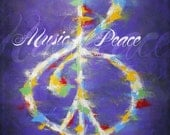 Music and Peace, Painting, Music, Peace, Treble Clef, Peace Sign, Purple, Red, White, Yellow, Blue, Green, Rainbow