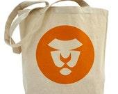Lion Orange Tote, Circles, Orange, Artsy, Natural, Eco, Off White, Shopping, Art on Both Sides, FREE SHIPPING