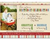 Vintage Joint Birthday Party Invitation - you print - custom design
